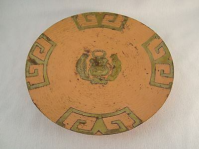 "Antique Vintage South American 9.5"" Round Ornate Copper Plate"
