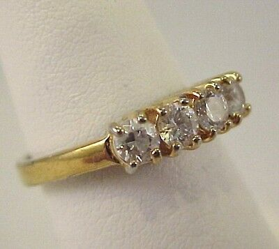 Vintage CZ Zirconia Band Ring Size 5.25 Signed GP Korea