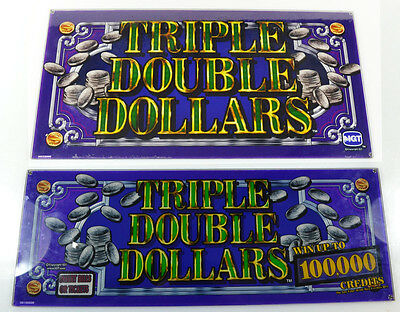 TRIPLE DOUBLE DOLLARS IGT Slot Machine Glass Panels - Top and Bottom