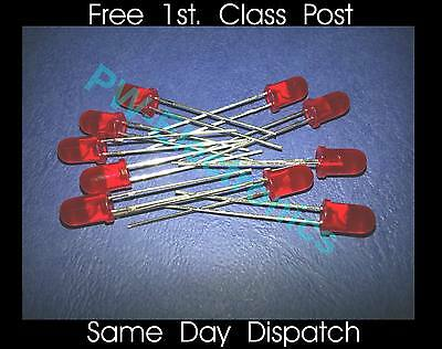 12 Volt Red LED 5mm (no resistors needed) .....Lot of 10