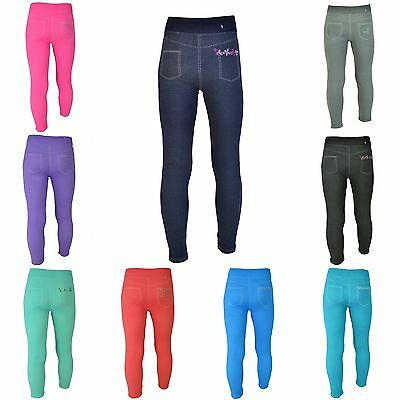 Leggings Mädchen JeansOptik Jeggings Kinder Treggings Leggins Strass Strech lang