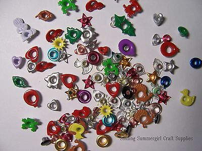 100 Assorted Fun Shaped Eyelets Use in Scrapbooks, Cards, Altered Art, Metal