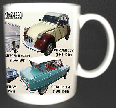 Citroen Range Of Classic Cars Mug Limited Edition Cv Ds Sm Ami 2Cv H 1947-1990