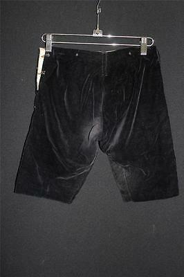 Very Rare French Edwardian Boy's Black Cotton Velvet Suspender Pants Size 4-5