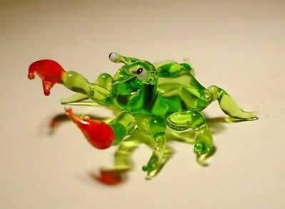 "Blown Glass ""Murano"" Art Animal Figurine Sea Creature Green CRAB"