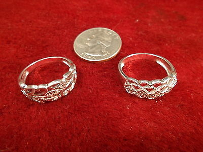 Lot Of 2 Nos? Vtg Sterling Silver Ladies Rings -- Both Signed 'rj', Us Size 9