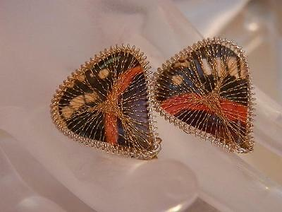 So Pretty Vintage 1950's Signed GERMANY Colorful & Gold Tone Clip Earrings   16M