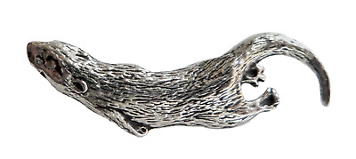 Otter Swimming Pewter Pin Badge - Hand Made in Cornwall - B72