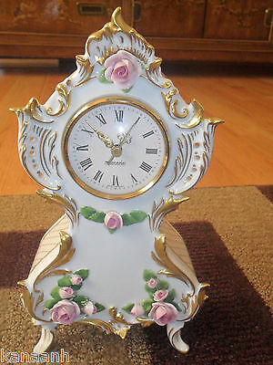 Vintage Porcelain Germany Kaiser Mantel Clock- Hand Painted with Applied Roses