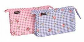 Sanjo Rose & Gingham Cosmetic Bag Pink/Blue Colours To Choose From