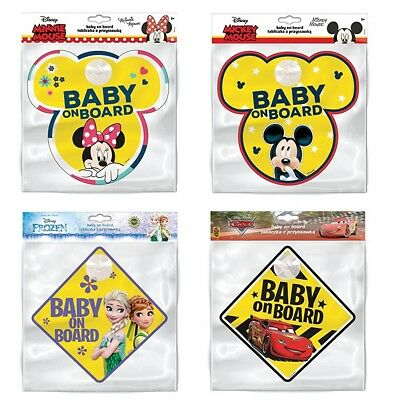 DISNEY Minnie Mickey Mouse Frozen Cars Baby on Board onboard Car Sign Window