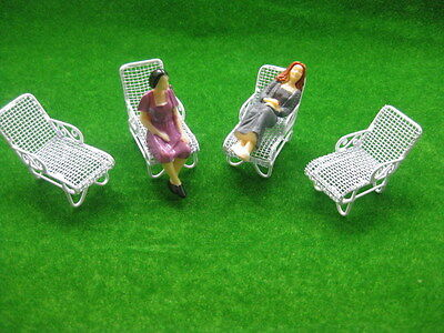 YZ3002 4pcs Model Railway Layout 1:30 Sun Loungers Beach Chairs G Scale NEW