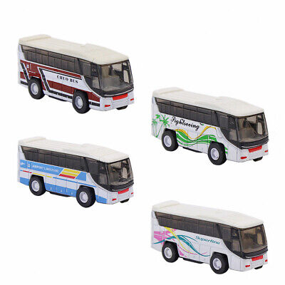C10003 4pcs Model Cars Buses 1:100 HO TT Scale Railway Layout Diecast NEW