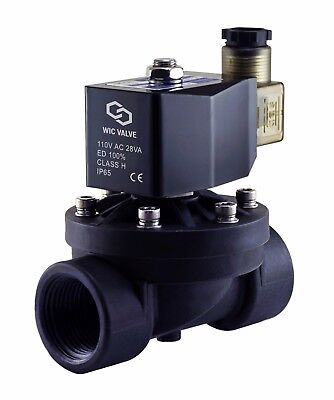 """1"""" Inch Electric Plastic Solenoid Air Gas Water Valve Normally Closed 110V AC"""