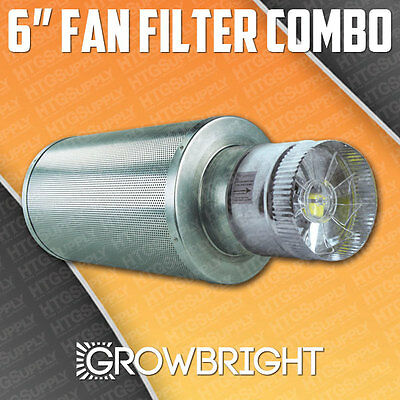 "6"" x 18"" CARBON AIR FILTER PRO COMBO SIX inch Duct FAN INLINE EXHAUST hydroponic"