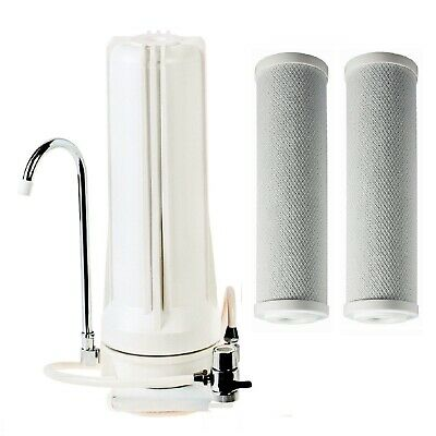 White Bench + Counter Top Water Filter + 2x 1uMa Coconut Carbon Filters CT-1-C1