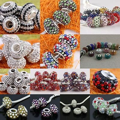 Mix Colors Crystal Rhinestone Resin European Charms Bead Fits Bracelet Wholesale