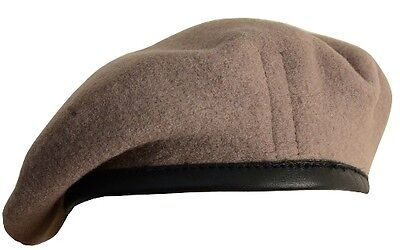 100% Wool BRITISH BERET - All Sizes SAS KHAKI High Quality Military Army Cap New