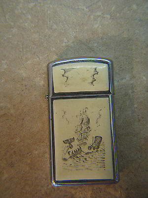 VINTAGE ZIPPO Lighter SCRIMSHAW Clipper Ship WHALE/WHALING SCENE Moby Dick BOAT