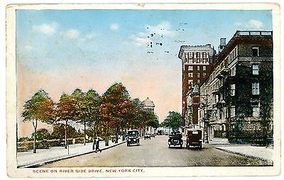New York City NYC - EARLY AUTOS ON RIVERSIDE DRIVE - Postcard