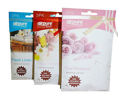 3 pack Airpure Scented Sachets Hanging Fragrance - With Moth Repellent *NEW*