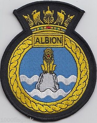 HMS Albion Royal Navy Embroidered Crest Badge Patch - MOD Approved