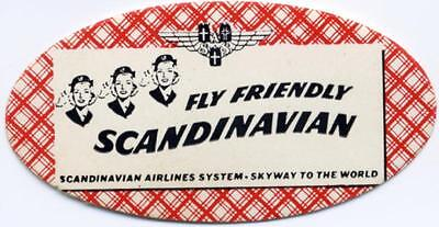 Fly Friendly SCANDINAVIAN AIRLINE - Great Old STEWARDESS Poster Stamp