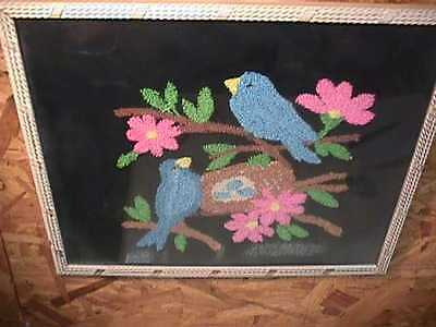 1950's Puffy Blue Birds Sewn Picture