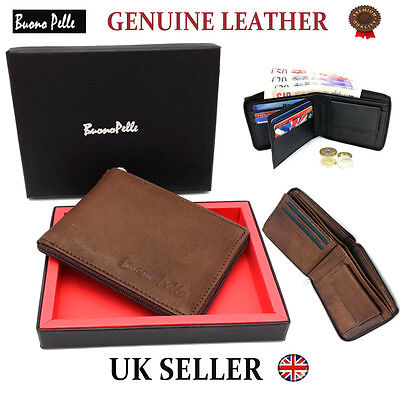 Designer Leather Wallet Real Genuine Mens Quality Zip Cash Card Coin Id Gift