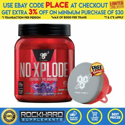 BSN N.O. Xplode (3.0) 45 Serves Blue R Explode No Pre Workout Pumps Energy
