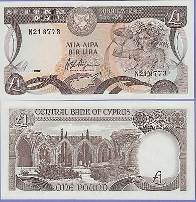 Cyprus 1 Pound Banknote Dated 1.11.1982 Uncirculated Condition Cat#50-6773A