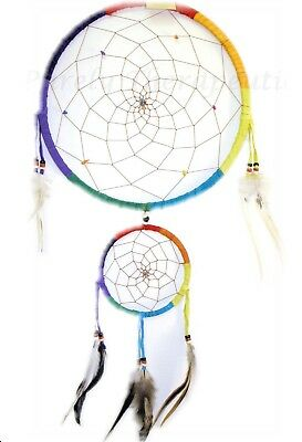 LARGE RAINBOW DREAM CATCHER with CRYSTALS WOVEN IN WEBS~Wall Hanging~60cm