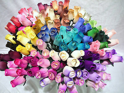 30 Wooden Roses Home Artificial Flowers Mixed Box Colours + 6 Green Grasses