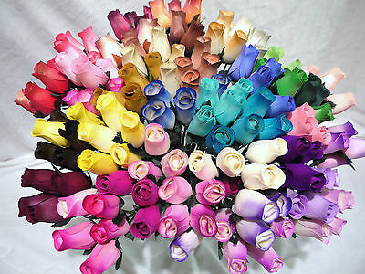 50 Wooden Roses Mixed Box Of Colours Wholesale Joblot Stock Clearance Car Boot