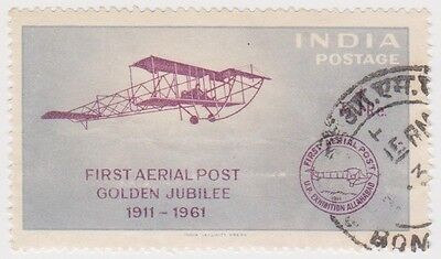 Stamp (I238)1961 INDIA 1R purple grey Aerial Post ow436