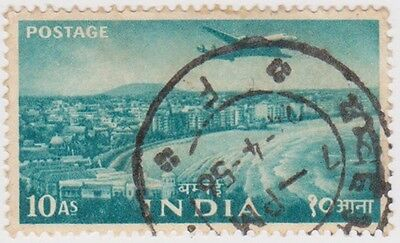 Stamp(I184) 1955 INDIA 10a turquoise steel plant ow363