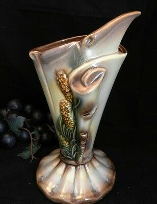 """Hull Pottery Parchment & Pine Vase 10 5/8"""" Tall Gray/Green, & Brown"""