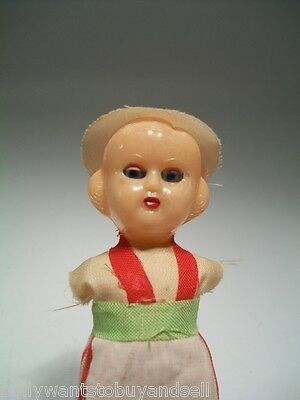 """Small Celluloid Doll Needs Repair Dressed Italian French Style 4 1/4"""" tall Girl"""