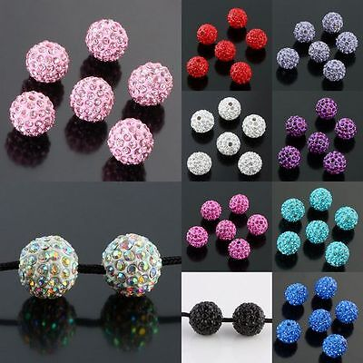 10mm Round Crystal Rhinestone Disco Hip Hop Loose Spacer Bead Findings -11 Color