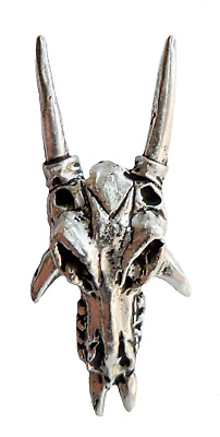 Dragon Skull Pewter Pin Badge - Hand Made in Cornwall - F12