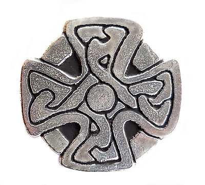 St Just In Roseland Celtic Cross Pewter Pin Badge   Hand Made In Cornwall