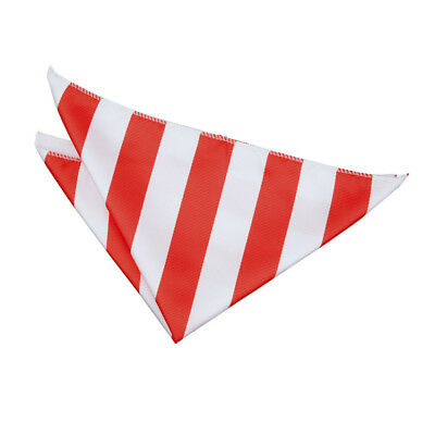 DQT Woven Striped Red & White Formal Handkerchief Hanky Pocket Square