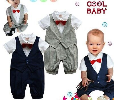 New Baby Boys Christening Wedding Tuxedo Clothes Jumpsuit Romper Size 0,1,2