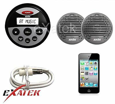 Axis MA1202 - Marine AM/FM Radio/ MP3 / Bluetooth Music Player w/ Speakers & Ant
