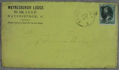 1877 Waynsburgh, OH Lodge 538 IOOF Stamp & Cover & Letter