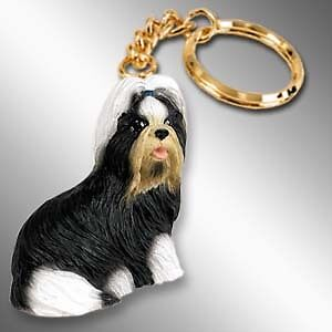 SHIH TZU Black White Dog Tiny One Resin Keychain Key Chain Ring