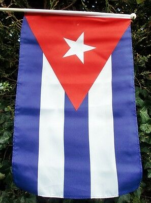 "CUBA LARGE HAND WAVING FLAG 18"" X 12"" WITH 24"" POLE flags CUBAN HAVANA"