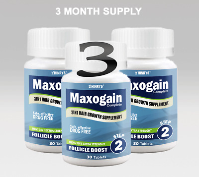 90Day Maxogain Follicle Boost Tablet 3in1 Mens Hairloss MPB Alopecia Thinning