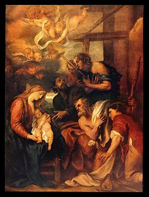 "Vintage 1958 ""adoration Of The Shepherds"" Art Print By Anthony Van Dyck"