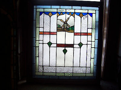 INCREDIBLE Stained Glass Windmill Window (SG 1028)